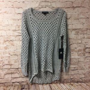 Rock & Republic Open Weave Metallic Thread Sweater